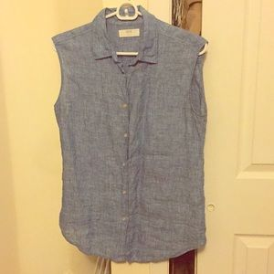Uniqlo linen button up tank top